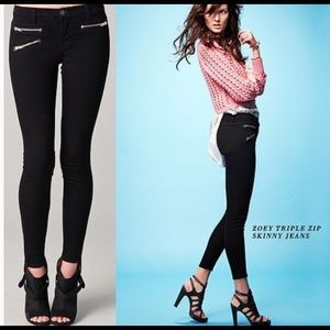 J Brand skinny jeans  3 faux zip Pockets